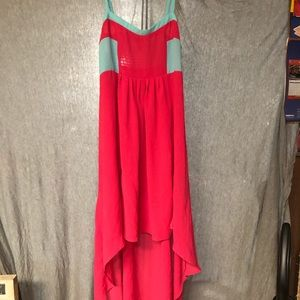 Pink and Aqua Colorblock Hi-Lo Dress XL